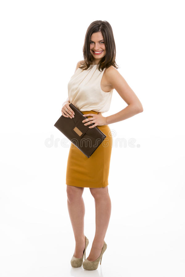 Business woman with brown purse stock images