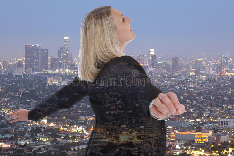 Business woman businesswoman freedom concept free manager city d royalty free stock image