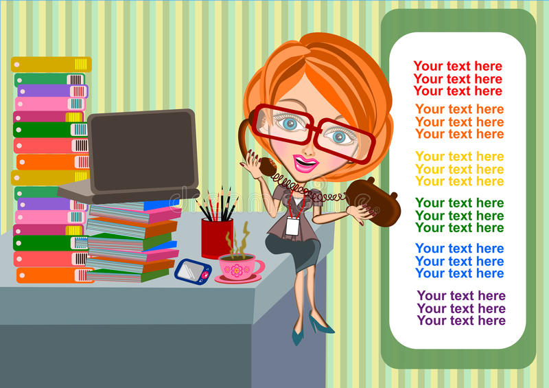 Business woman busy working royalty free illustration