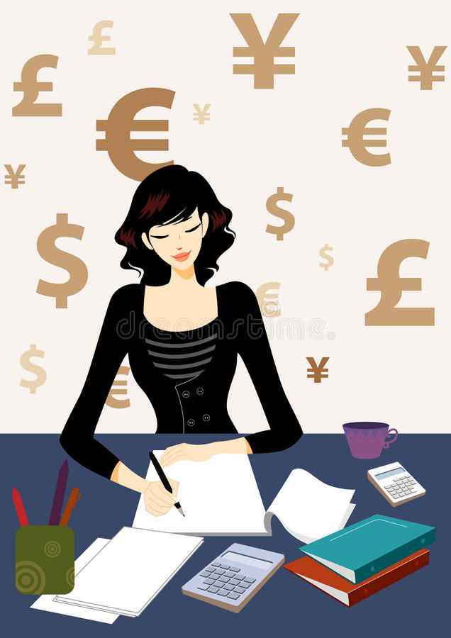 Business woman calculating bill in office royalty free illustration