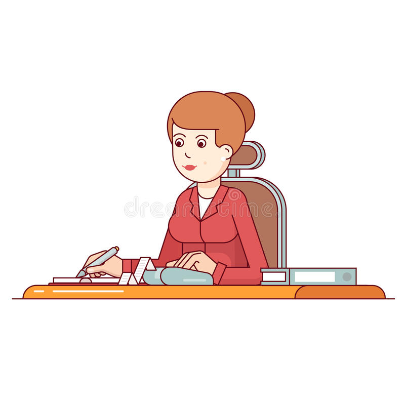 Business woman calculating her expenses stock illustration