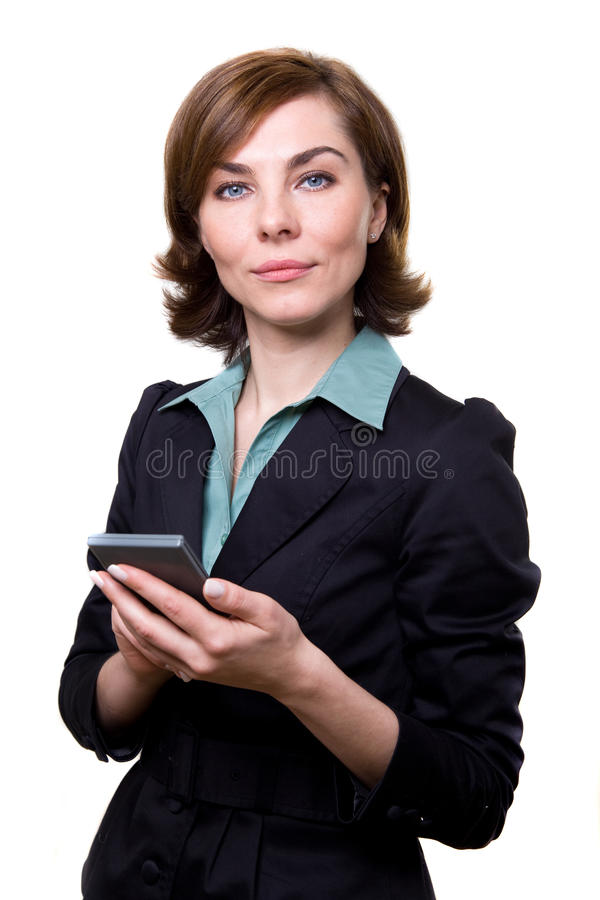 Business woman with calculator royalty free stock photos