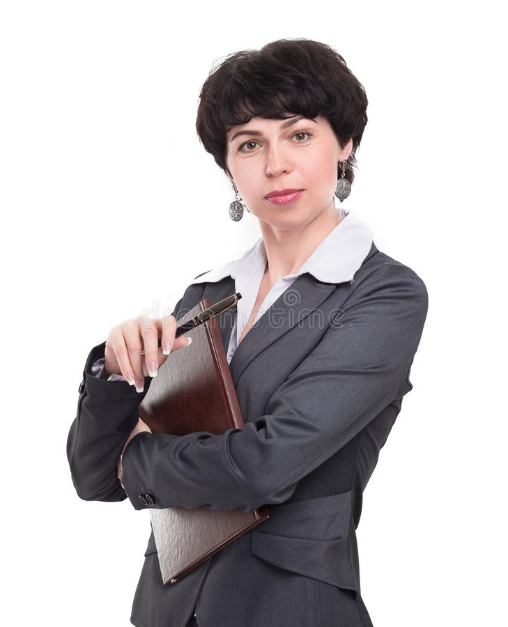 Business woman carefully reading a business document royalty free stock image
