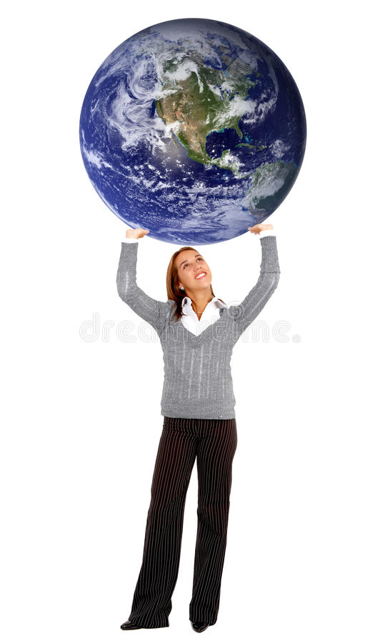Business woman carrying the world