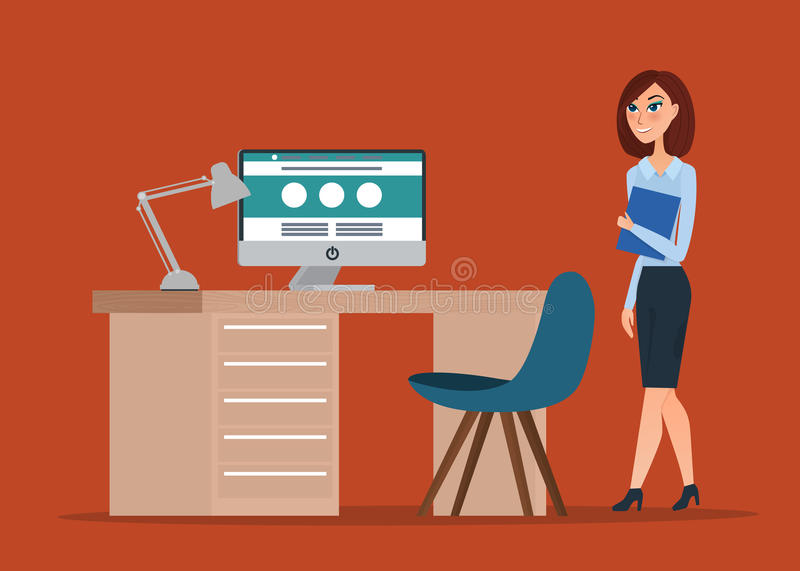 Business woman. Cartoon concept. Vector creative color. Illustrations flat design in flat modern style stock illustration