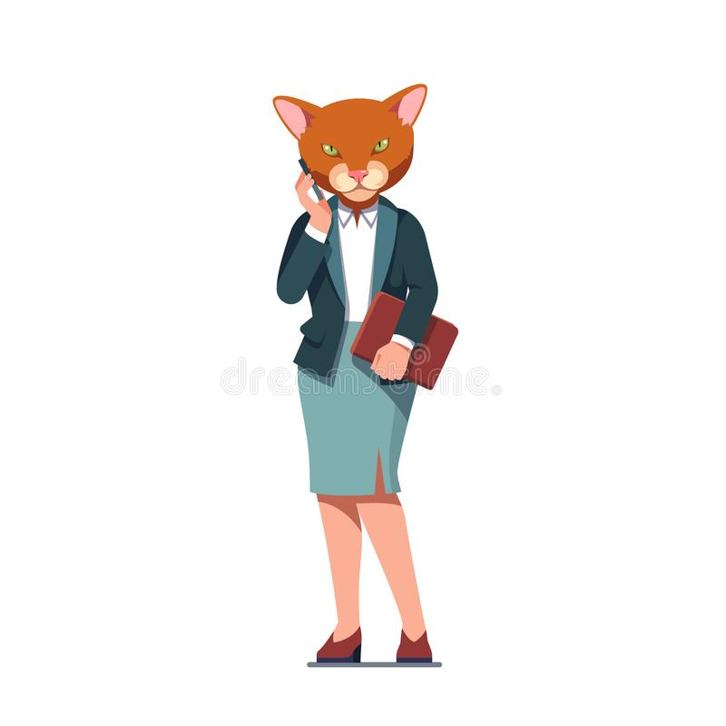 Business woman with cat head talking on phone royalty free illustration