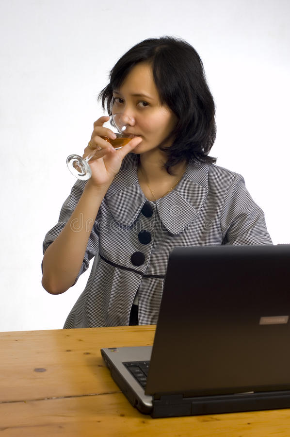Download Business Woman Celebrating Her Success With Wine Royalty Free Stock Photography - Image: 11300317