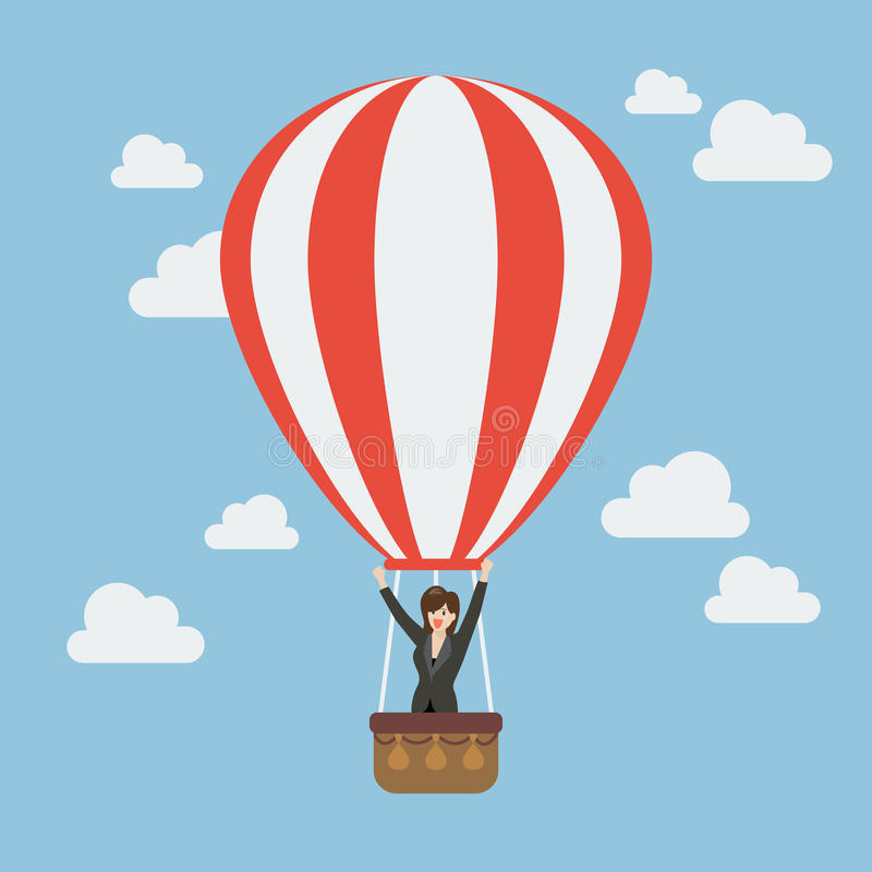 Business woman celebrating in hot air balloon stock illustration