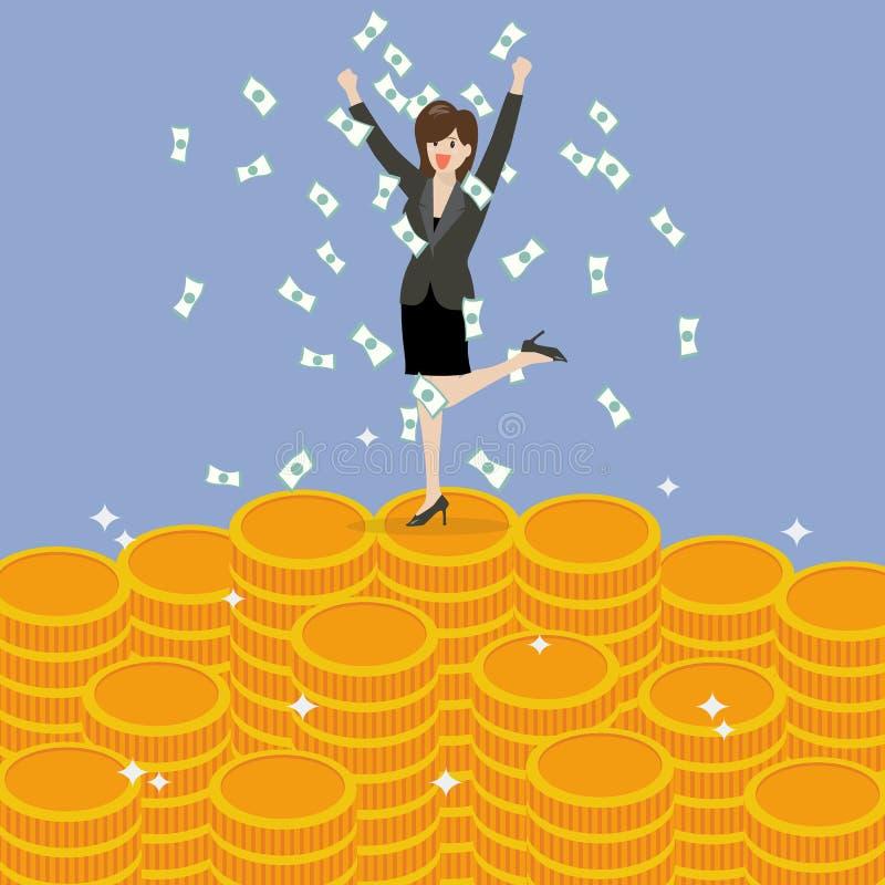 Business woman celebrating on Money vector illustration