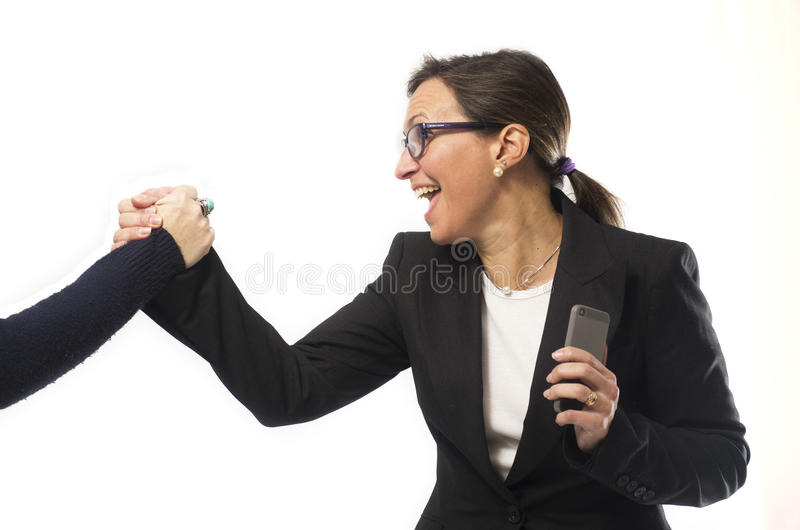 Business Woman Celebrating. Success over white background royalty free stock photos