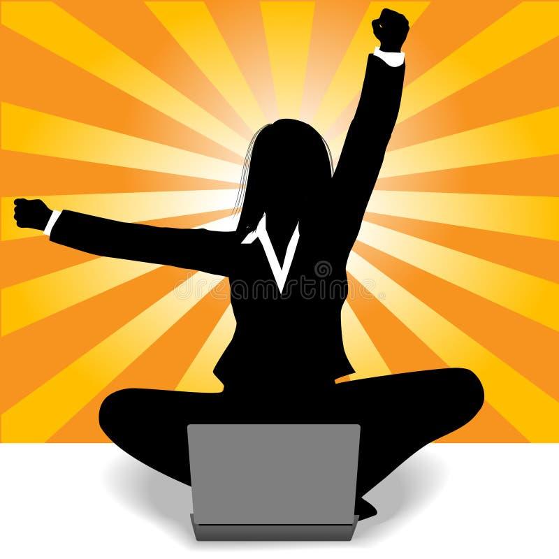 Download Business Woman Celebration Laptop Computer Success Stock Vector - Illustration: 10563380
