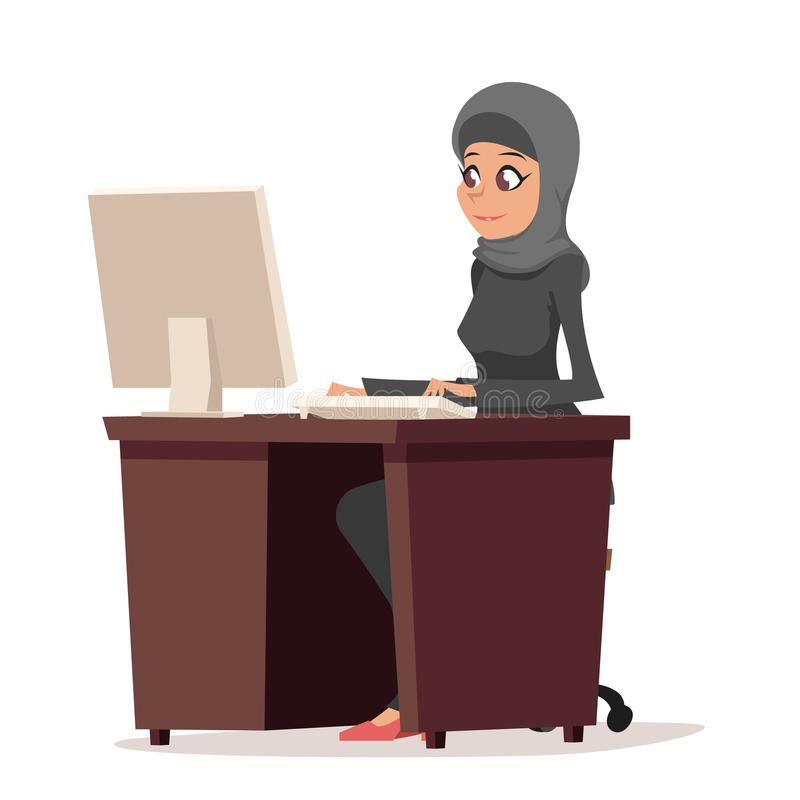 Business woman character arab cute traditional clothing hijab abaya desk working computer isolated cartoon design vector. Business woman character arab cute stock illustration
