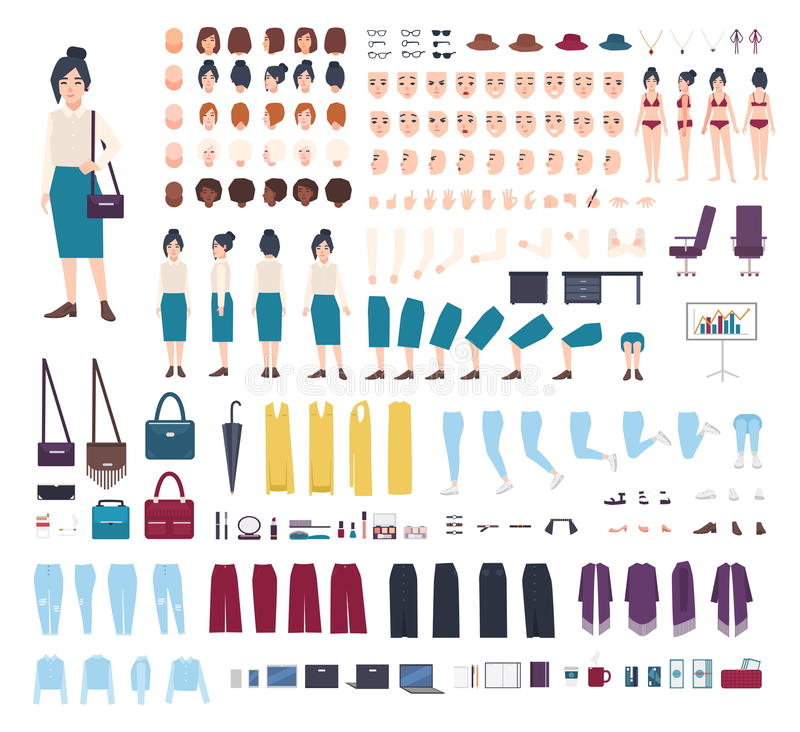 Business woman character constructor. Girl clerk creation set. Different postures, hairstyle, face, legs, hands, clothes stock illustration