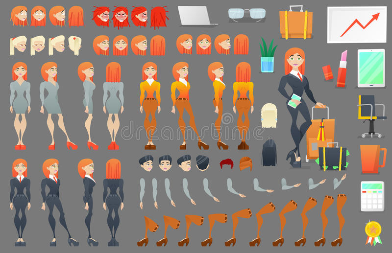 Business Woman Character Creation Constructor. Woman in Different Poses. Female Person with Faces, Arms, Legs, Hairstyles. Vector illustration royalty free illustration