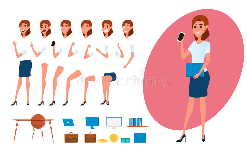 Business woman character creation set for animation. Parts body template. Different emotions, poses and running, walking vector illustration