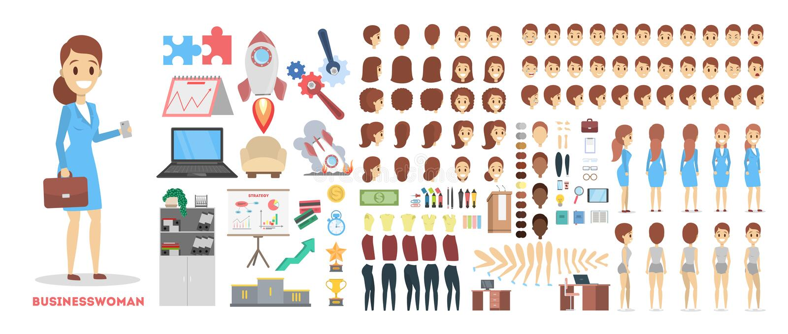 Business woman character set for the animation with various views stock illustration