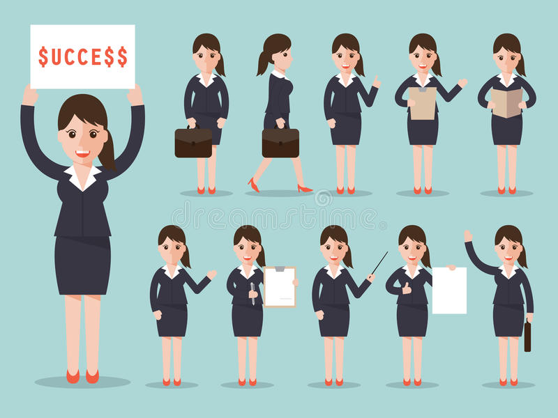 Business woman character set stock illustration