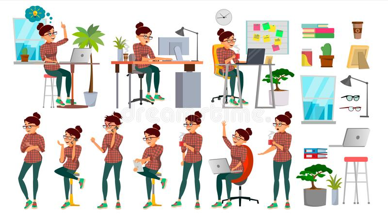 Business Woman Character Set Vector. Working People Set. Office, Creative Studio. Female Business Situation. Girl. Programmer, Designer, Manager. Poses vector illustration