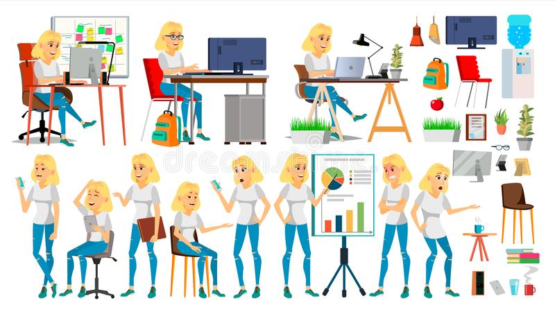 Business Woman Character Vector. In Action. Office. IT Startup Business Company. Blonde Elegant Modern Girl. Meeting. Business Woman Character Vector. Blonde royalty free illustration