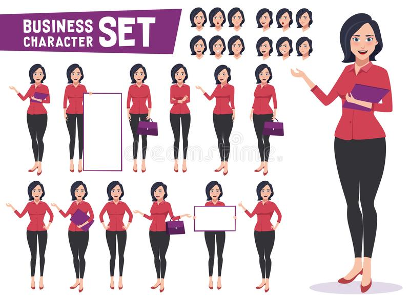 Business woman character vector set with professional young female employee royalty free illustration