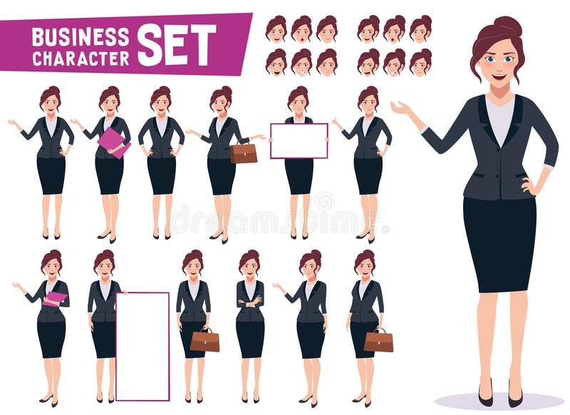 Business woman character vector set with young happy professional female royalty free illustration