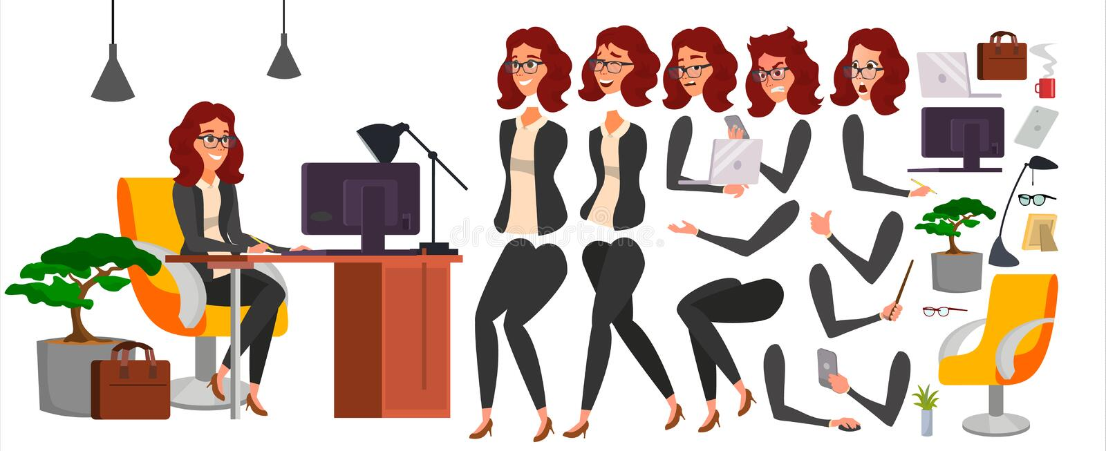 Business Woman Character Vector. Working Female Girl Boss. Office. Girl Developer. Animation Set. Attractive Lady stock illustration