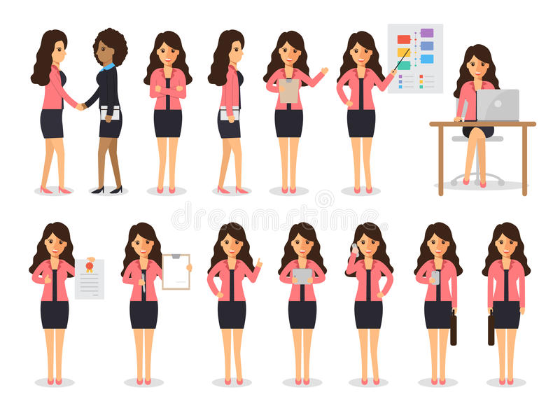 Business woman characters vector illustration