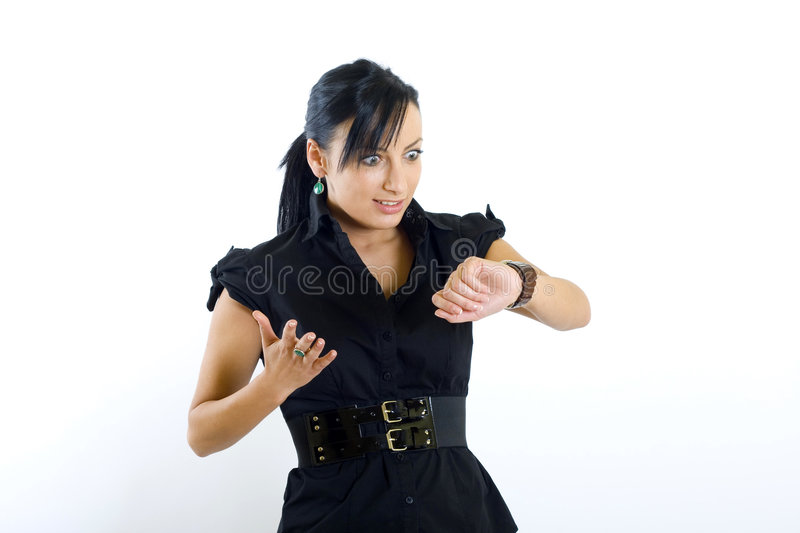 Business woman checking time stock photography