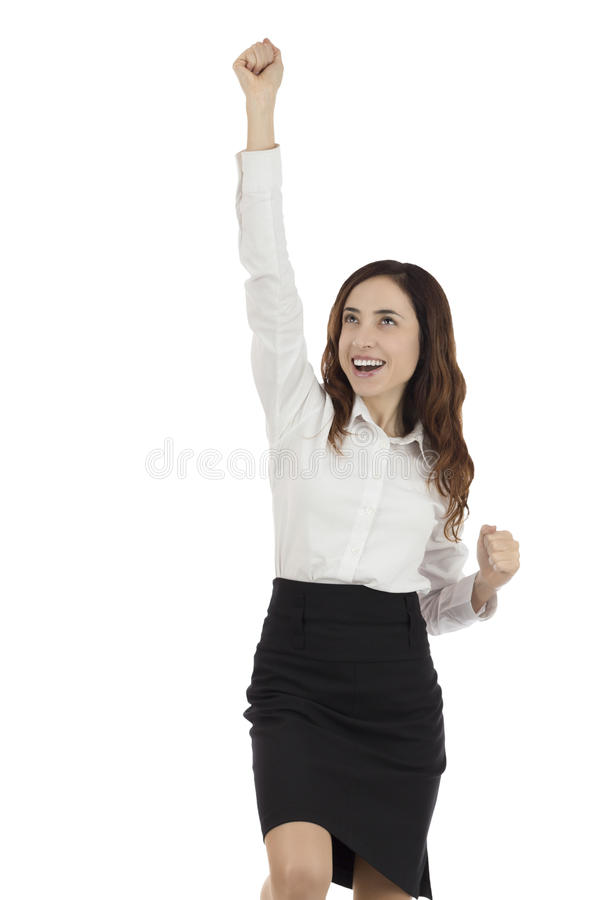 Business woman cheering royalty free stock photos
