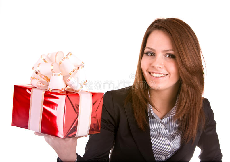 Business Woman With Christmas Red Box. Royalty Free Stock Photos