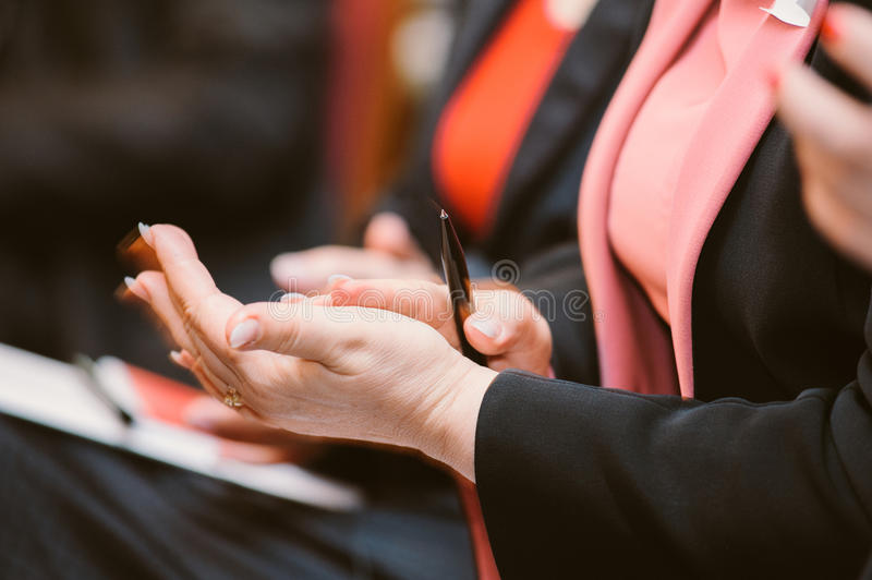 Business woman clapping hands applauding royalty free stock photo