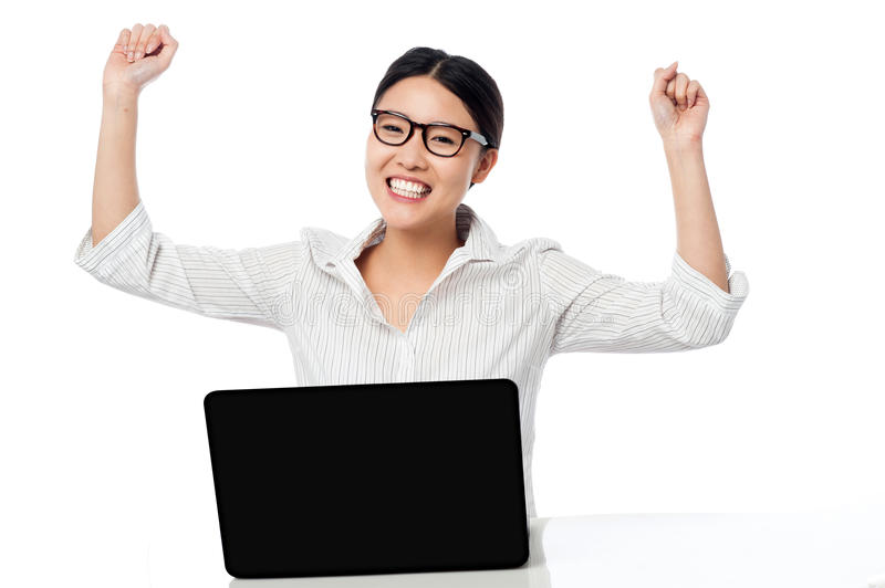 Business Woman Clenching Fists In Excitement Stock Images