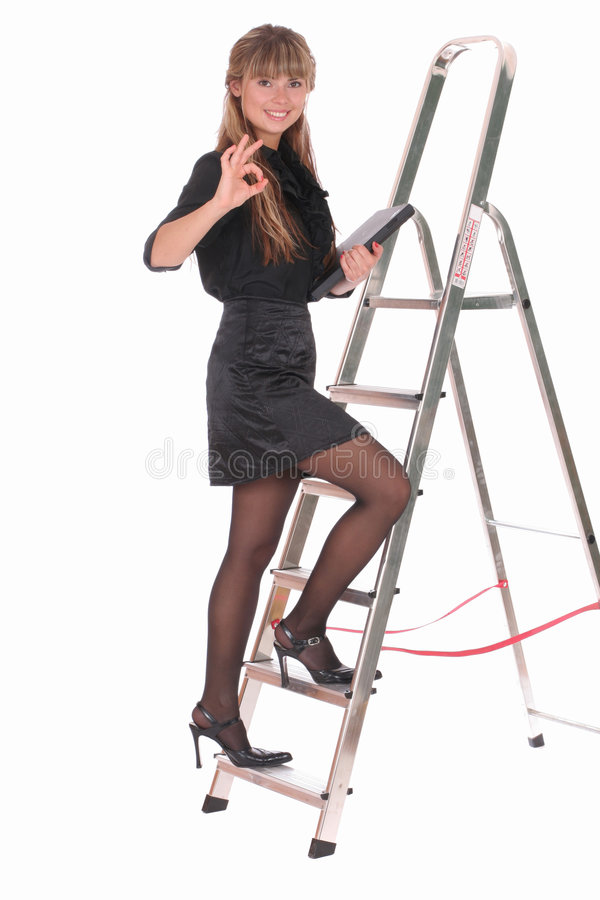 Download Business Woman Climbing Ladder Stock Image - Image: 2583231