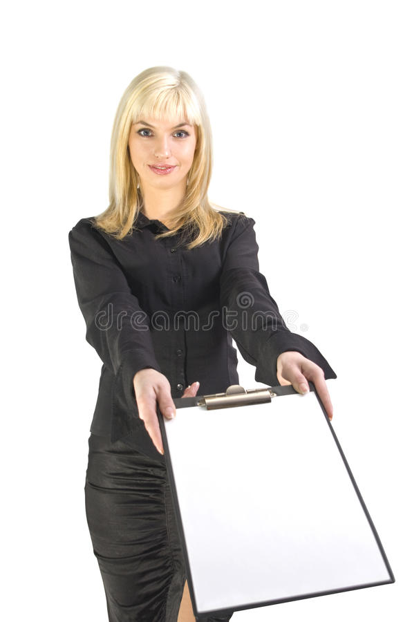 Business woman with clipboard royalty free stock images