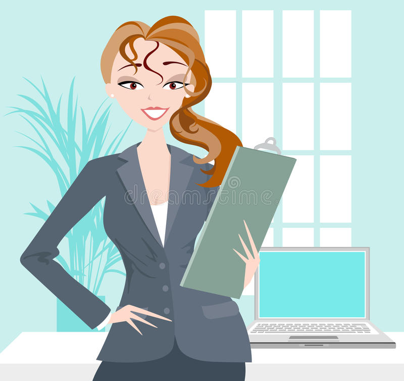 Business Woman With Clipboard and Laptop
