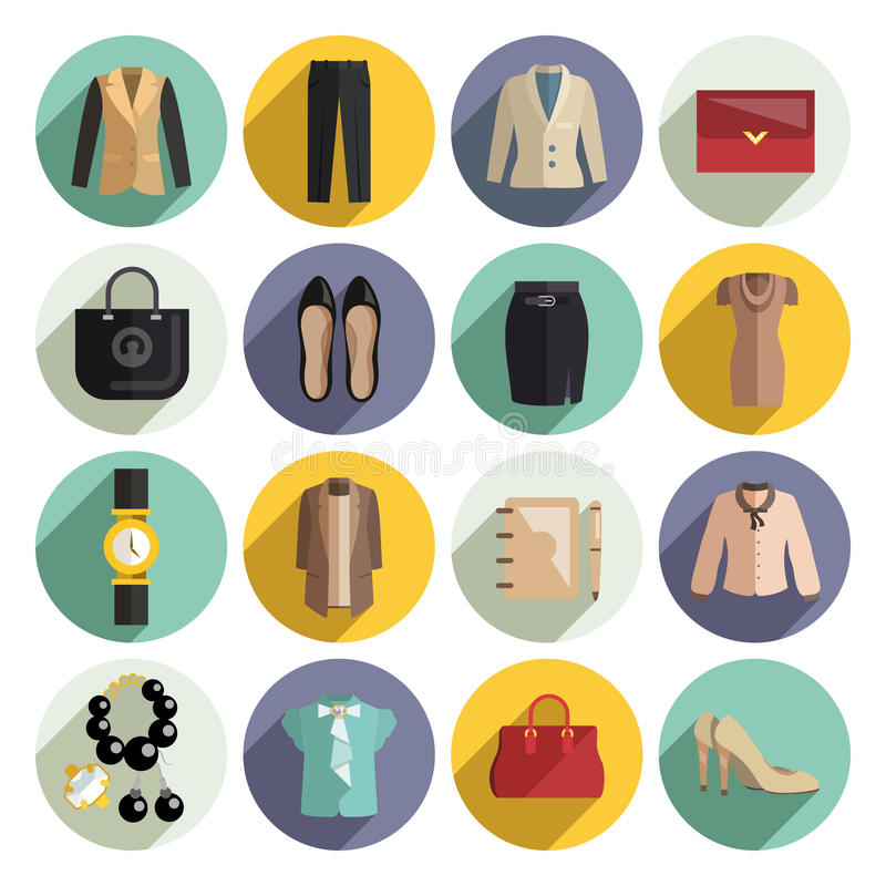 Business Woman Clothes Icons Set royalty free illustration