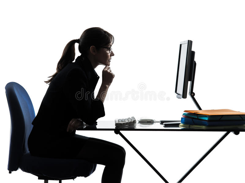 Business woman computer computing silhouette royalty free stock images
