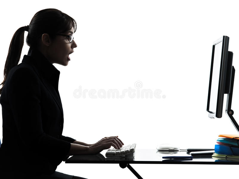 Download Business Woman Computer Computing  Surprised  Silhouette Stock Image - Image of sitting, businesswoman: 31365463