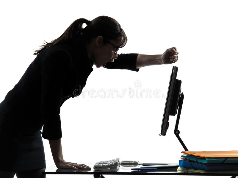 Business woman computer failure breakdown silhouette royalty free stock image
