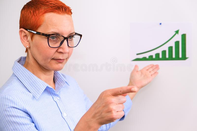 Business woman conducts business training. Business people having on presentation at office. Businessman presenting on the Board stock photos