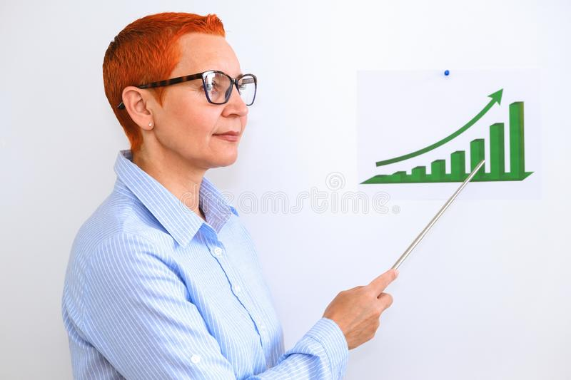 Business woman conducts business training. Business people having on presentation at office. Businessman presenting on the Board stock image