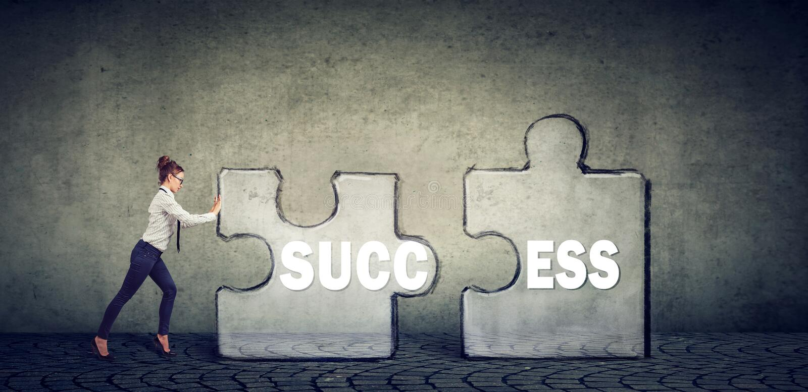 Business woman connecting elements of success puzzle stock image