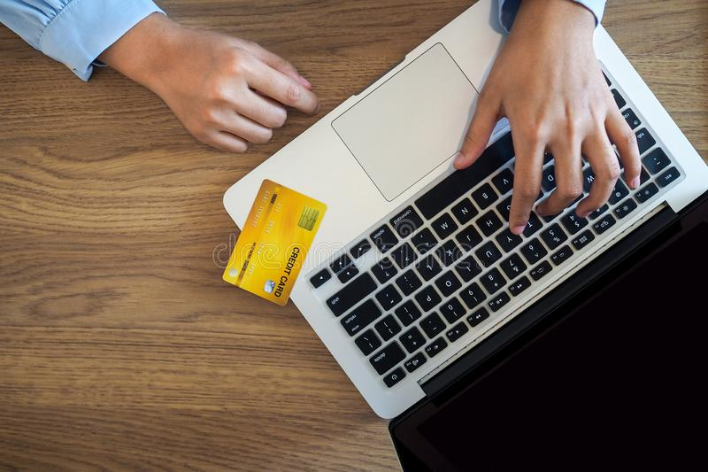 Business woman consumer spending via credit card and internet banking for shopping online.  royalty free stock photo