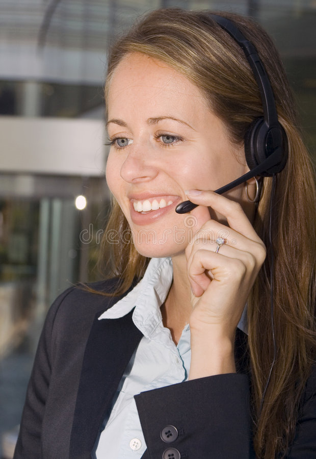 Business Woman - Contact Us royalty free stock image