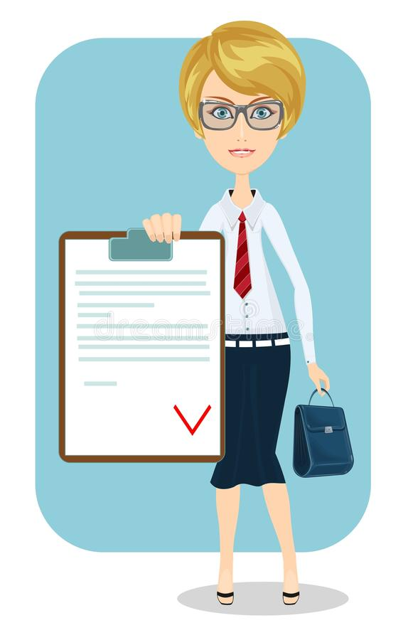 Business woman, contract. royalty free illustration