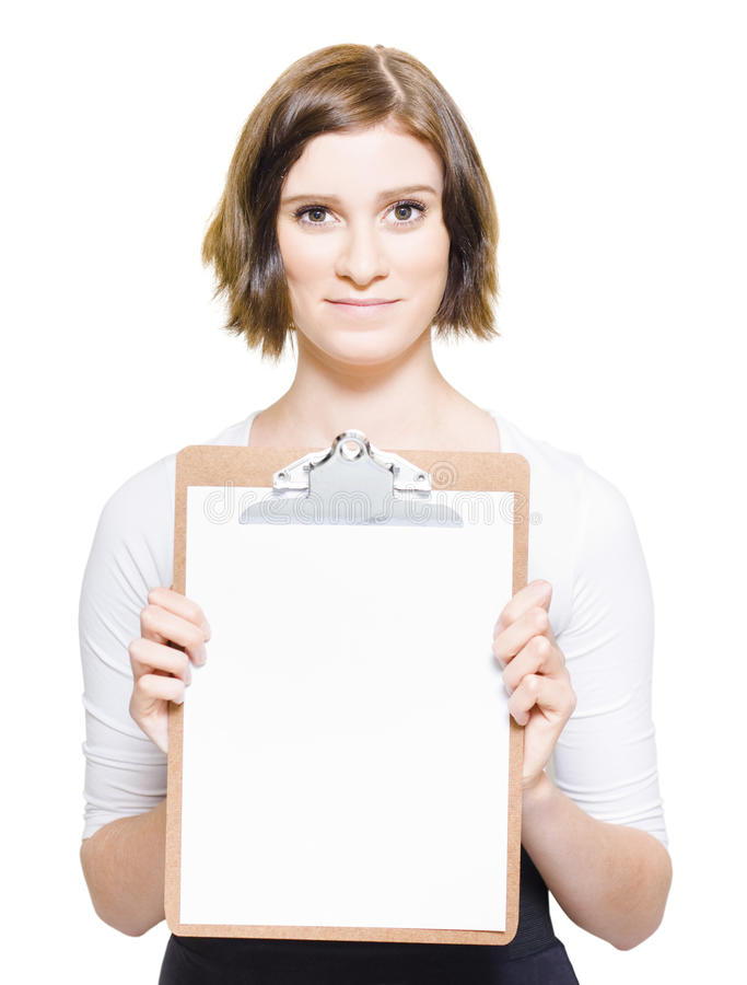 Download Business Woman With Copyspace Clip Board Royalty Free Stock Photography - Image: 24640157