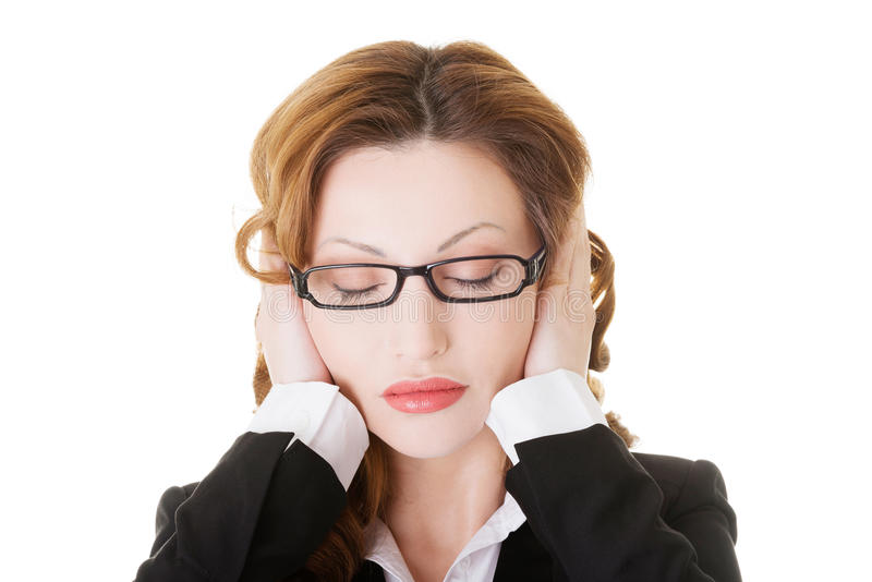 Download Business Woman Covering Her Ears. Stock Photo - Image of formal, modern: 35046076
