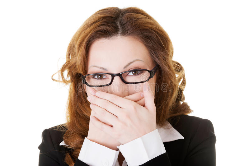 Download Business Woman Covering Her Mouth. Stock Image - Image: 35046071