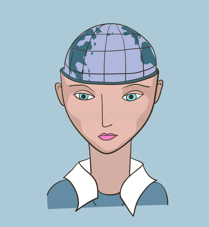 Business woman creative vector. Illustration. Earth planet inside the head vector illustration