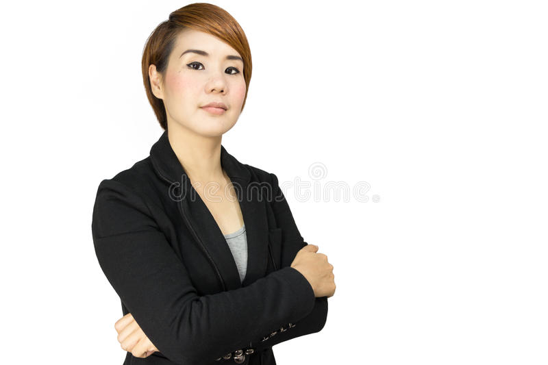 Business woman crossed arms. Business woman portrait with crossed arms stock image
